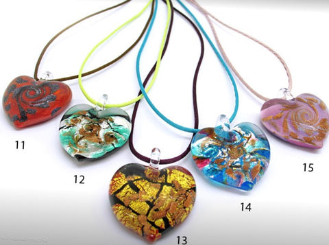 Heart shaped Murano Glass necklace , Passion 11, 12 - natural italian skincare www.MilanoCoronado.com