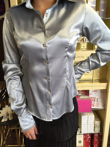 Blouse, Gray Silk with lace detail - natural italian skincare www.MilanoCoronado.com