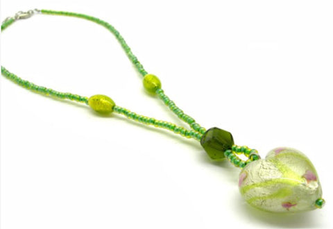 Heart shaped Murano Glass necklace , green, Giulia model - natural italian skincare www.MilanoCoronado.com