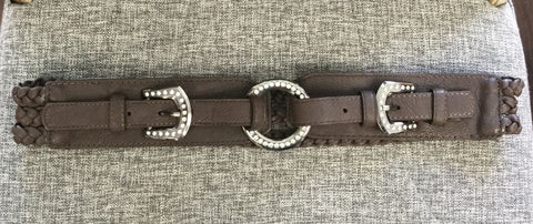 Belt, Brown with two buckles with rhinestones - natural italian skincare www.MilanoCoronado.com