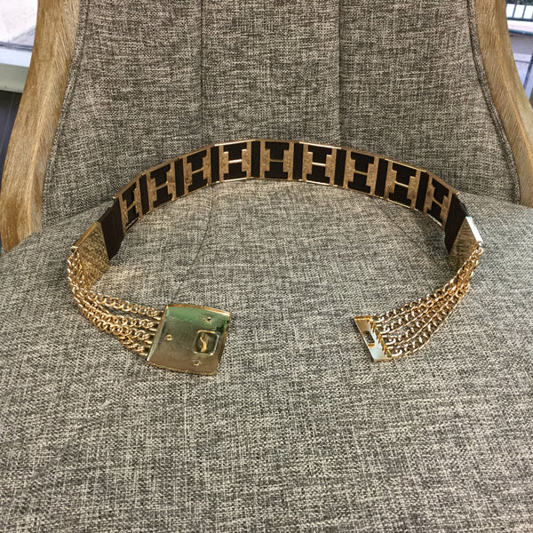 Belt, Taupe Elastic with Gold Chain and Plate - natural italian skincare www.MilanoCoronado.com
