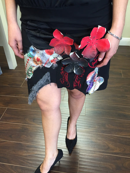 Designer mini skirt, red flower decor - natural italian skincare www.MilanoCoronado.com