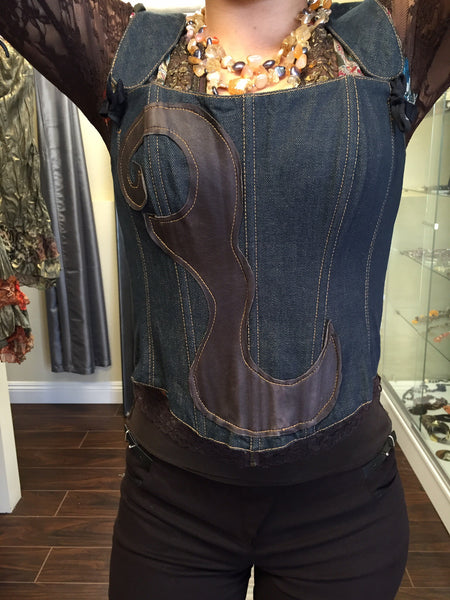 Bustier, Jeans and leather - natural italian skincare www.MilanoCoronado.com