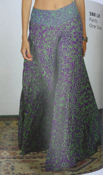 Pants, green and violet, with multicolor beads on the front belt - natural italian skincare www.MilanoCoronado.com
