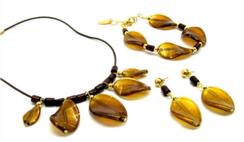 Murano Glass Parure with leaves, brown - natural italian skincare www.MilanoCoronado.com