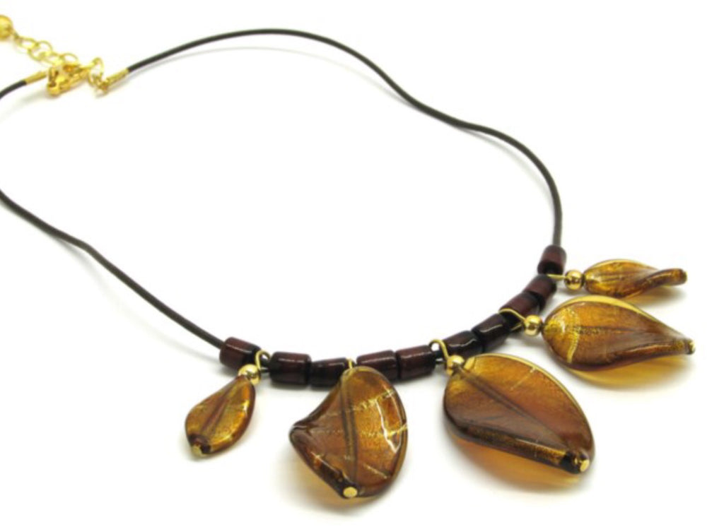 Murano Glass necklace with leaves, brown - natural italian skincare www.MilanoCoronado.com