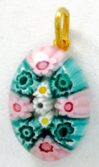 Millefiori Murano Glass pendant, small oval, pink and green - natural italian skincare www.MilanoCoronado.com