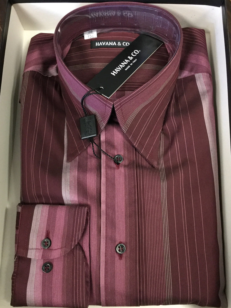 Shirt, burgundy with Grey stripes, fitted - natural italian skincare www.MilanoCoronado.com