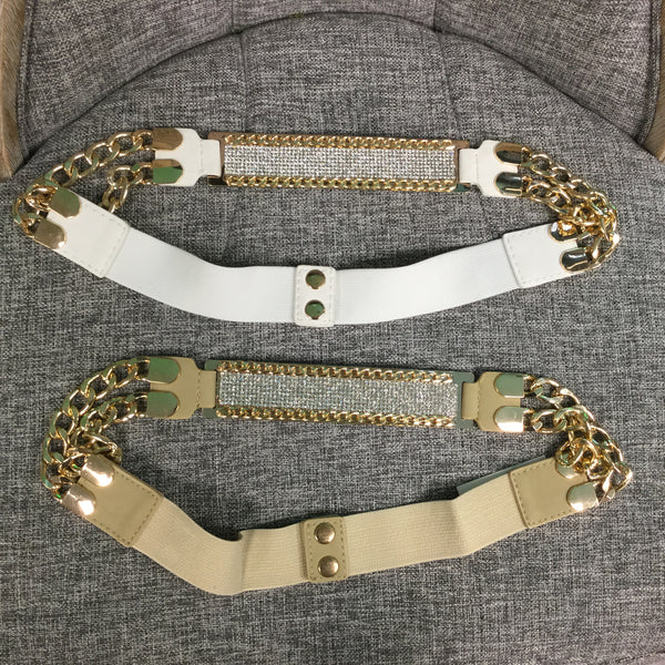 Belt, Taupe with Gold Chain and White Crystals - natural italian skincare www.MilanoCoronado.com