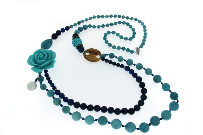 Long Necklace, 1918C Blue Rose - natural italian skincare www.MilanoCoronado.com