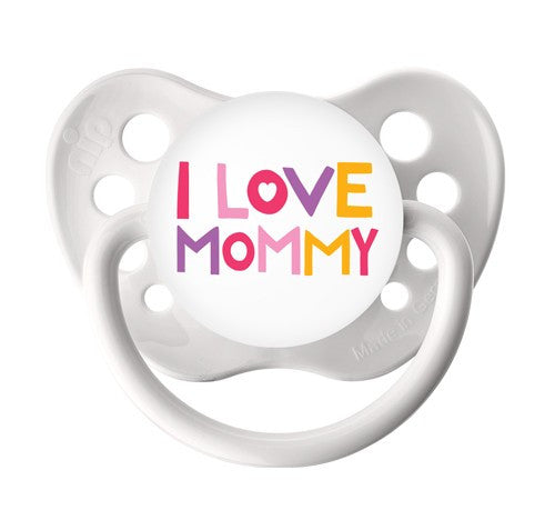 Expression Pacifiers - I Love Mommy - White - 0-6M - Through my baby's eyes