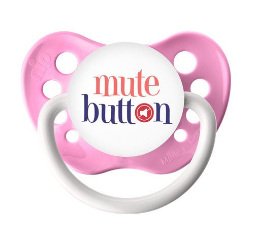 Expression Pacifiers - Mute Button - Pink - 0-6M - Through my baby's eyes