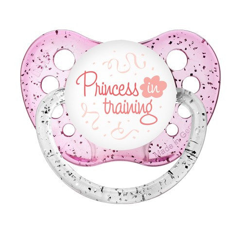 Expression Pacifiers - Princess in Training - Glitter Pink - 6-18M - Through my baby's eyes