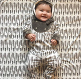 Button Yoke Jumpsuit | Charcoal Feather  - Size 0-3 - Through my baby's eyes