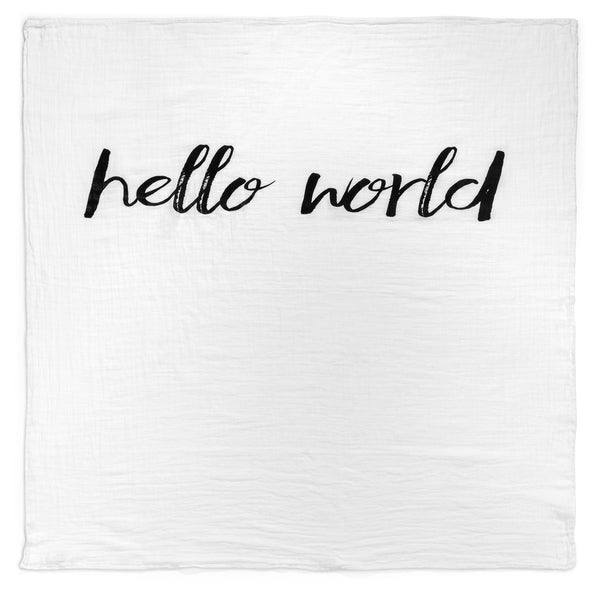 Organic Cotton Muslin Swaddle Blanket - Hello World - Through my baby's eyes