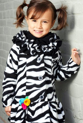 Girls Zebra Fleece Ruffle Collar Coat - Size 3T - Through my baby's eyes