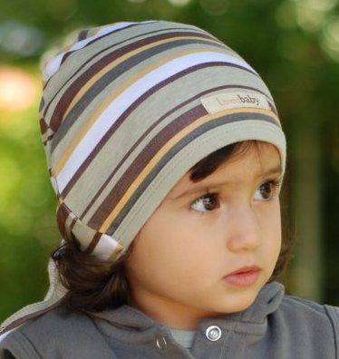 L'ovedbaby Tie-Back Cute Cap - Stripe Hype - Neutral - 12-24M - Through my baby's eyes