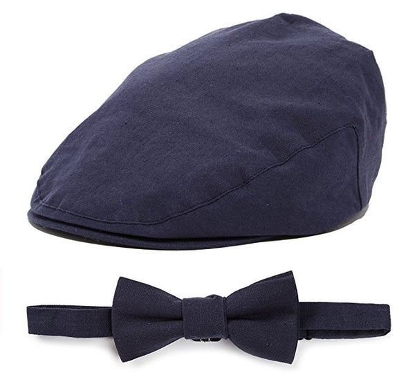 Cap and Bow Tie Sets - Navy Linen Driver and Bow Tie - Through my baby's eyes