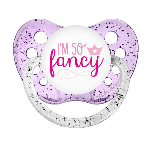 Expression Pacifiers - I'm so Fancy-Glitter Purple - 0-6M - Through my baby's eyes