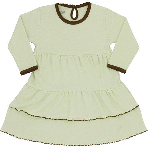 Sage/Brown Ruffle Dress - 6-9 months - Through my baby's eyes