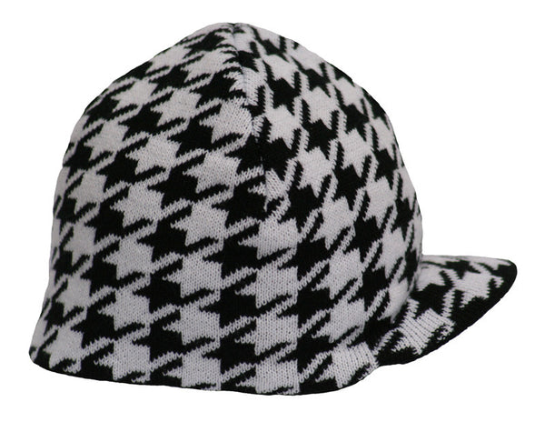 Reversible Houndstooth Beanie - Through my baby's eyes