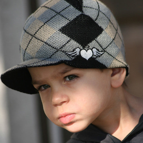 Custom Argyle Visor Beanie - Through my baby's eyes