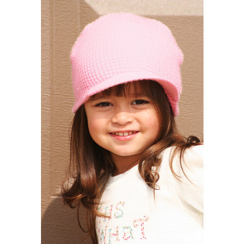 Pink Waffle Visor Beanie - Through my baby's eyes