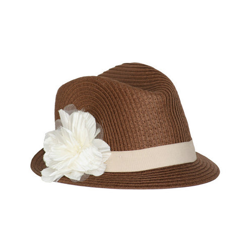 STRAW FEDORA HAT WITH FLOWER - Through my baby's eyes