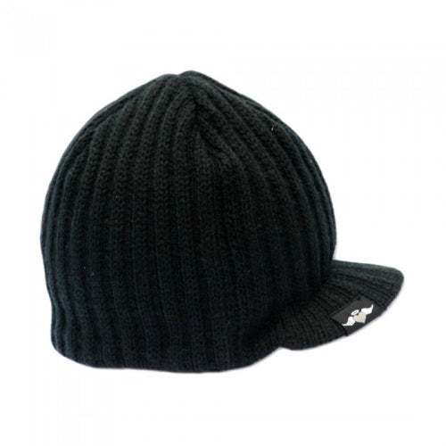 Black Rib Visor Beanie with Tag - Through my baby's eyes
