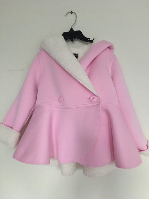 Double Breasted Reversible Fleece Coat - Pink - Through my baby's eyes