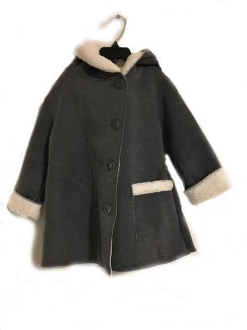 Button Down Fleece Coat - Grey - Through my baby's eyes