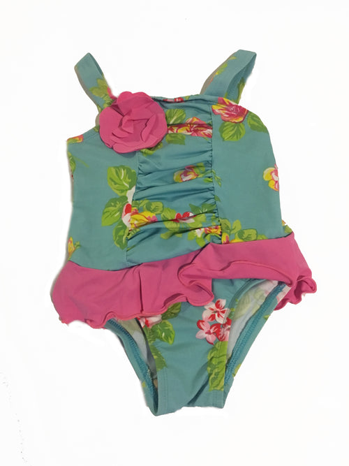 Girls Flower One Piece Bathing Suit - Through my baby's eyes