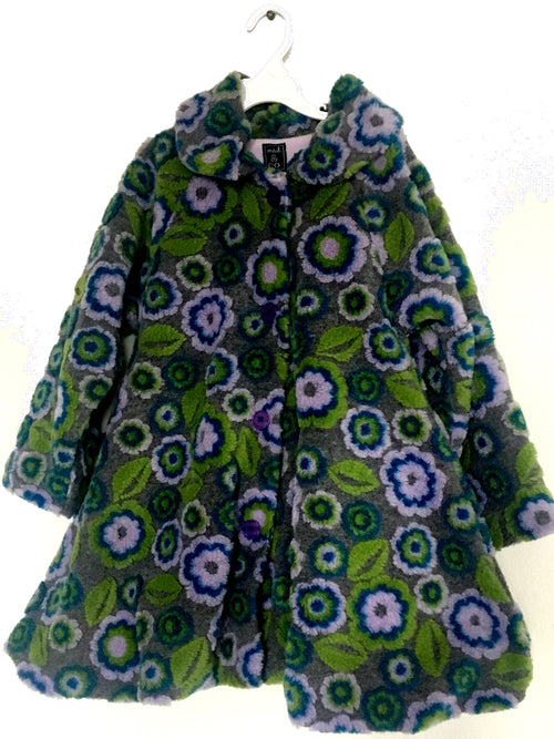 GIrls Winter Coat - Grey, Purple & Green - Size 6 - Through my baby's eyes