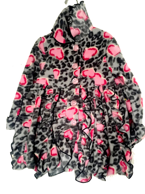 Girls Ruffle Floral Winter Coat -Pink & Grey - Through my baby's eyes