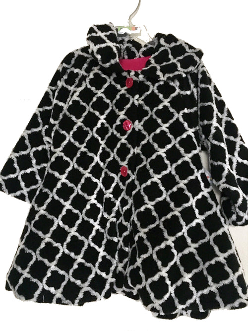 Girls Black & White Coat w/ Pink Buttons - Through my baby's eyes