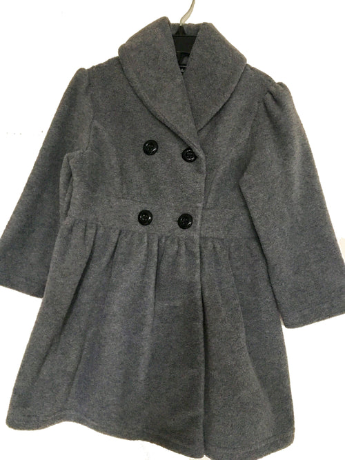 Fleece Double Breasted Coat For Girls - Grey - Through my baby's eyes