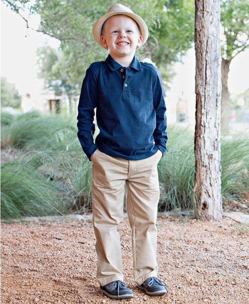 Navy Long Sleeve Polo - Through my baby's eyes