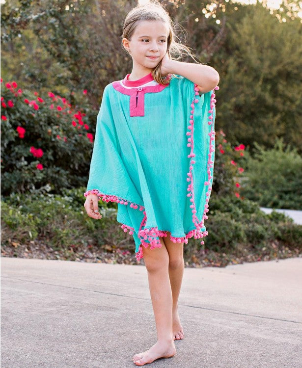 Aqua Pom Pom Poncho Cover-Up