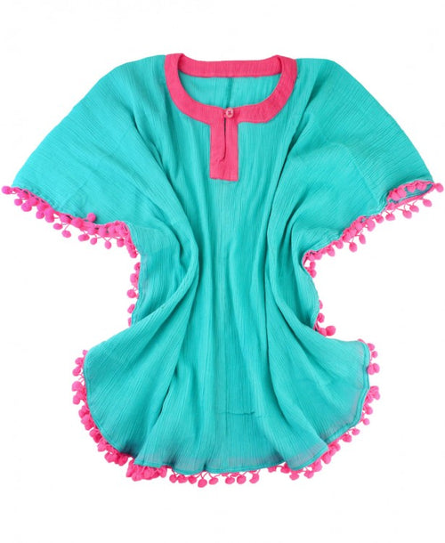 Aqua Pom Pom Poncho Cover-Up - Through my baby's eyes