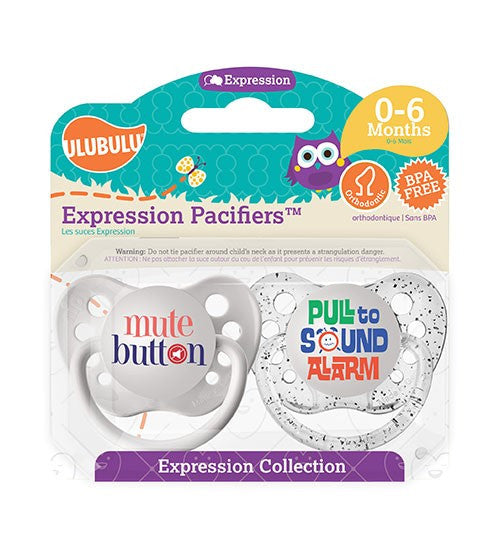 Expression Pacifiers - Mute Button & Pull to Sound Alarm 0-6M - Through my baby's eyes