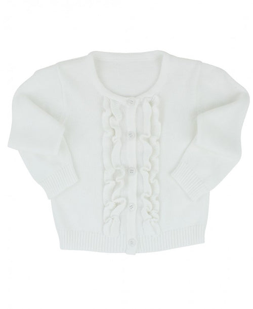 White Ruffled Cardigan - Through my baby's eyes