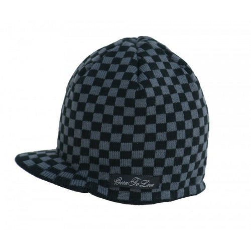 Black and Gray Checkered Beanie - Through my baby's eyes