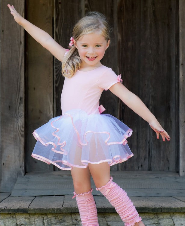 Short Sleeve Pink & White Tutu Leotard - Through my baby's eyes