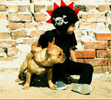 Black Mohawk Hat with Red Spikes and Skull - Through my baby's eyes