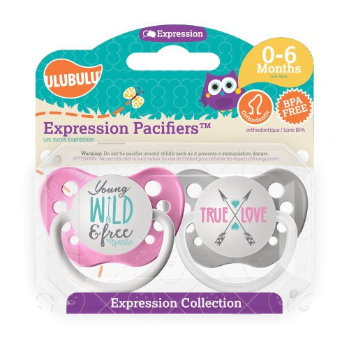 Expression Pacifiers - Young Wild and Free & True Love 0-6M - Through my baby's eyes
