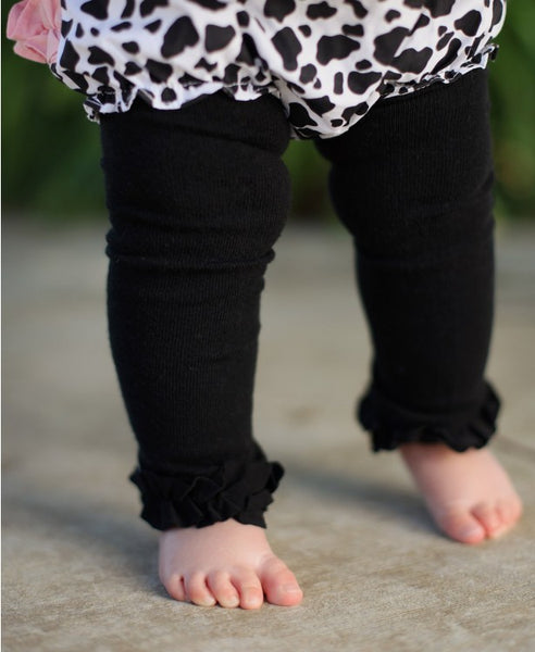 Black Footless Ruffle Tights - Through my baby's eyes