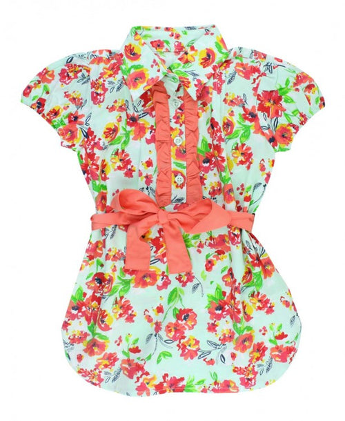 Painted Flowers Shirt Dress - Through my baby's eyes