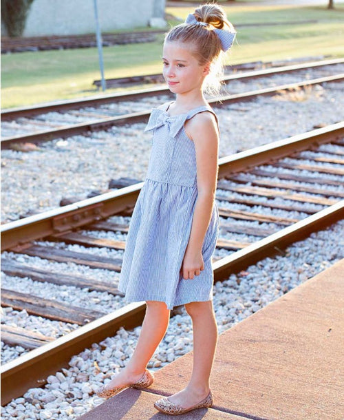 Blue Seersucker Fit & Flare Bow Dress - Through my baby's eyes