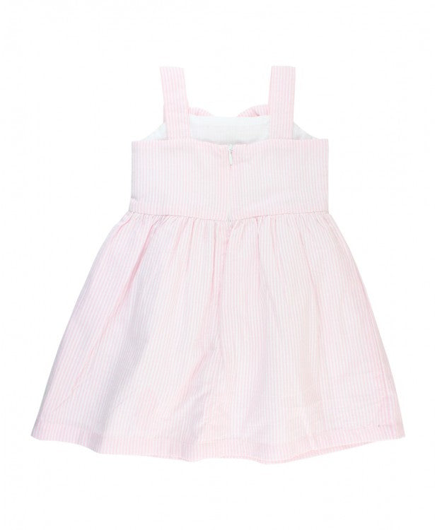 Pink Seersucker Fit & Flare Bow Dress - Through my baby's eyes