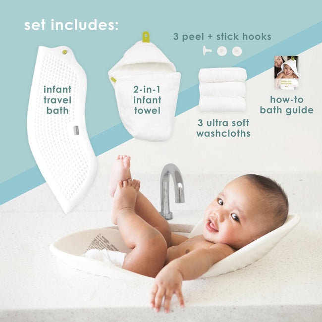 Infant Bath Gift Set, White, Newborn to 6 Months - Through my baby's eyes